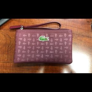 Lacoste large red/wine wristlet